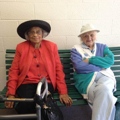 two women bench